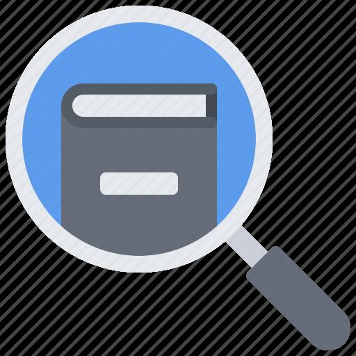 book, literature, magnifier, reading, search, shop icon