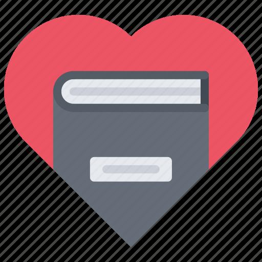 book, heart, literature, love, reading, shop icon