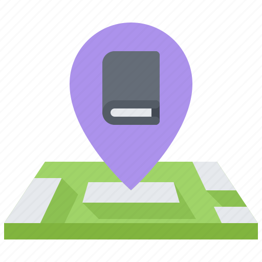 book, literature, location, map, pin, reading, shop icon
