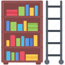 book, bookcase, literature, reading, shop, staircase icon