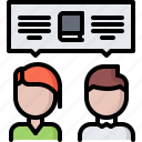 book, dialogue, discussion, literature, reading, shop, talk icon