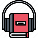 audiobook, book, headphones, literature, reading, shop icon