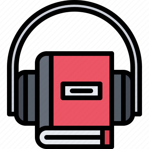 audiobook, book, headphones, literature, reading, shop icon