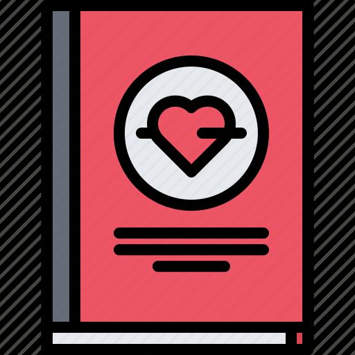 book, genre, literature, reading, romance, shop icon