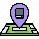 book, literature, location, map, pin, reading, shop icon