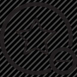 bookmark, circle, delete, favourite, minus, star icon