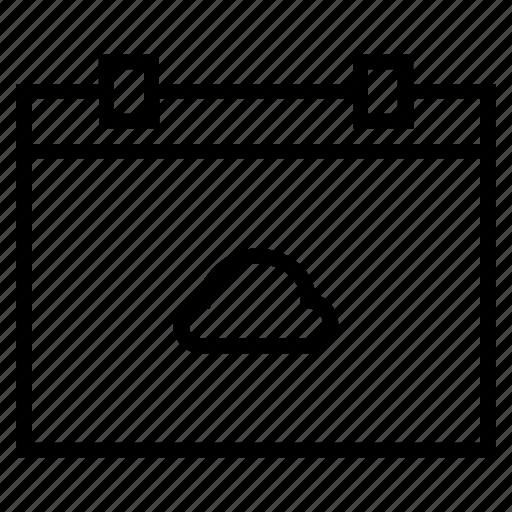bookmark, calendar, cloud, data, network, process, weather icon