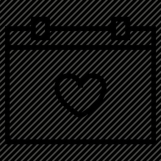bookmark, calendar, day, heart, love, process, romantic icon