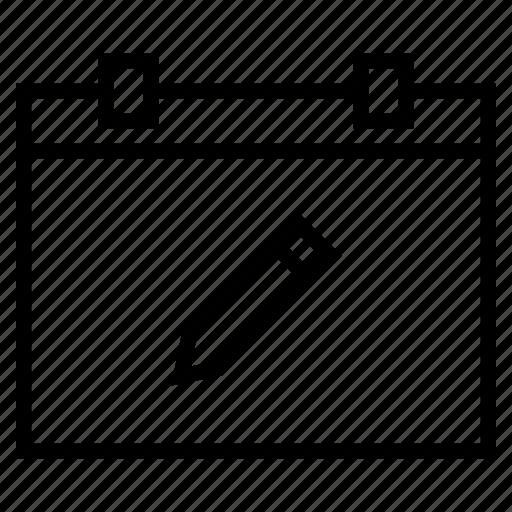 bookmark, calendar, date, note, pencil, process, schedule icon