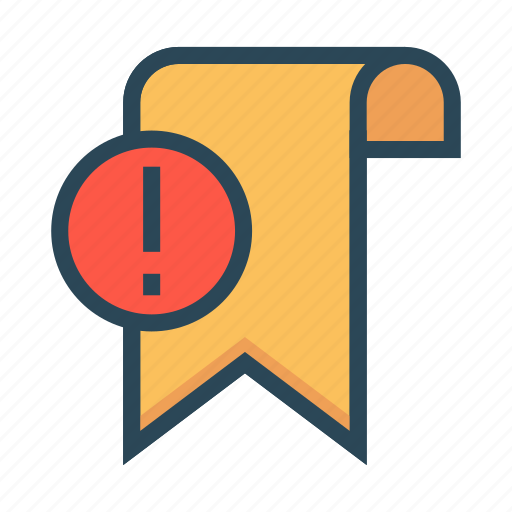 Bookmark, error, exclamation, ribbon, tag icon - Download on Iconfinder