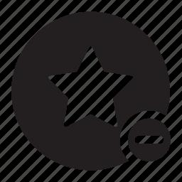 bookmark, circle, delete, minus, star, tags icon