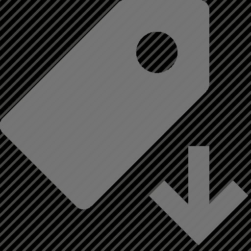 arrow, down, download, tag icon