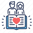 book, couple, heart, love story icon