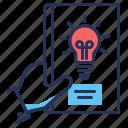 bulb, business book, hand, idea icon