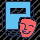 book, comedy, drama, mask icon