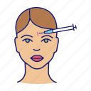botox injection, cosmetology, face, facial, forehead, skin, wrinkle