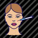 anti ageing, botox, cosmetology, face, injection, nasolabial fold, wrinkle icon