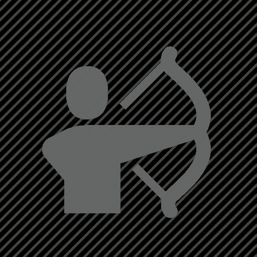 archery, bow, effort, longbow, men, targeting, weapon icon