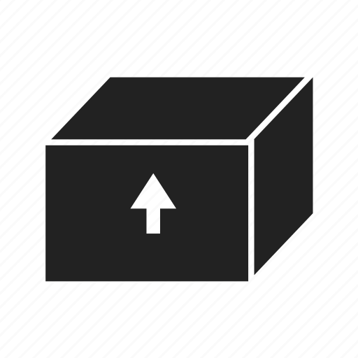 arrow, box, cube, loading, package, product icon