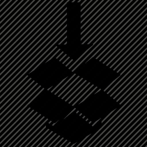 arrow, bottom, box, close, down, dropbox, turn icon