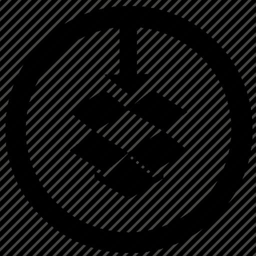arrow, bottom, box, down, dropbox, package, round icon