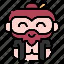 bun, man, user, avatar, people, character, costume icon