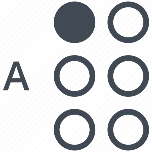 a, alphabet, blindness, braille, communication, disability, letter icon