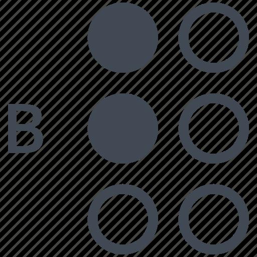 alphabet, b, blindness, braille, communication, disability, letter icon