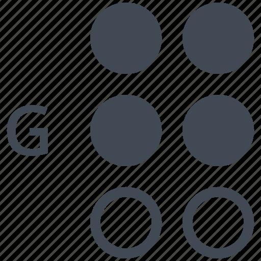 alphabet, blindness, braille, communication, disability, g, letter icon