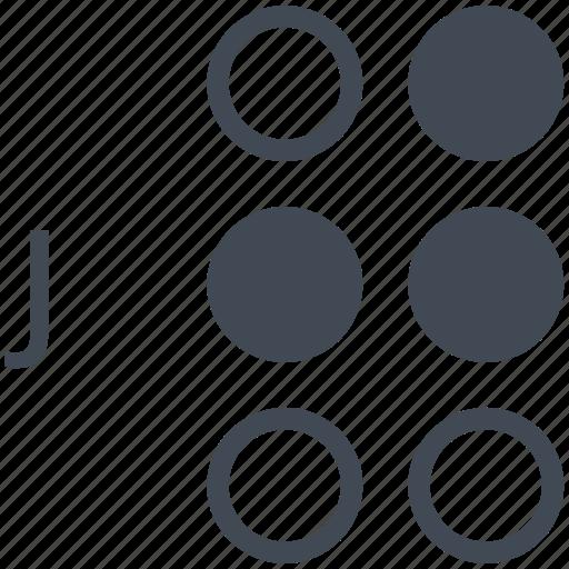 alphabet, blindness, braille, communication, disability, j, letter icon