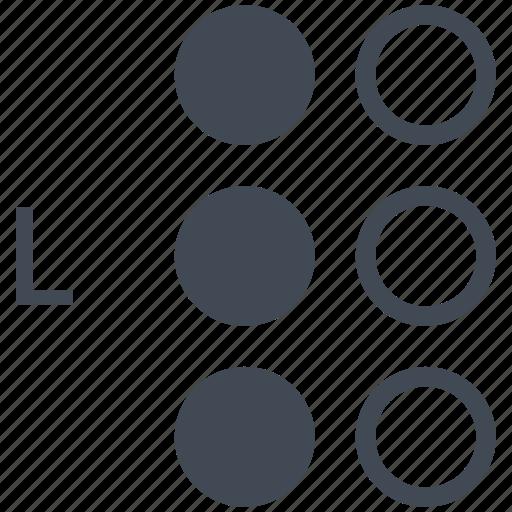 alphabet, blindness, braille, communication, disability, l, letter icon