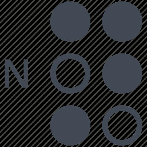 alphabet, blindness, braille, communication, disability, letter, n icon