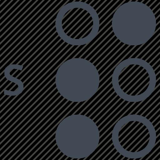 alphabet, blindness, braille, communication, disability, letter, s icon