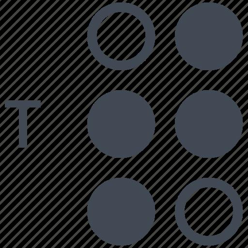 alphabet, blindness, braille, communication, disability, letter, t icon