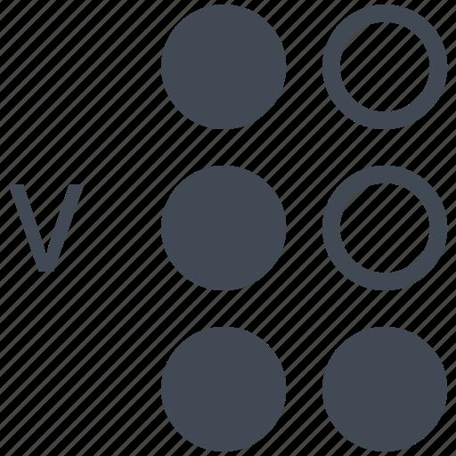 alphabet, blindness, braille, communication, disability, letter, v icon