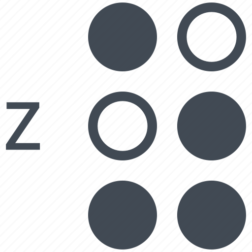 alphabet, blindness, braille, communication, disability, letter, z icon