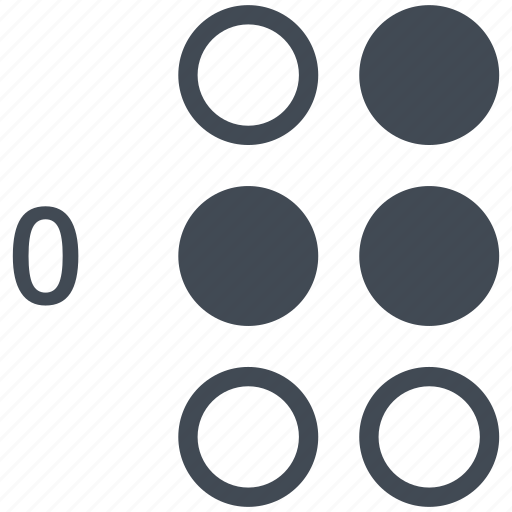 alphabet, blindness, braille, communication, disability, letter, zero icon