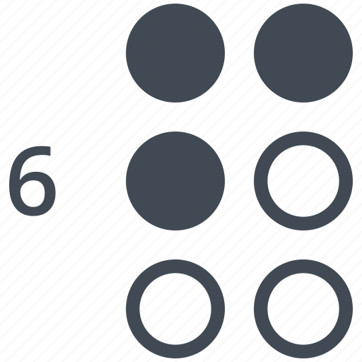 alphabet, blindness, braille, communication, disability, letter, six icon