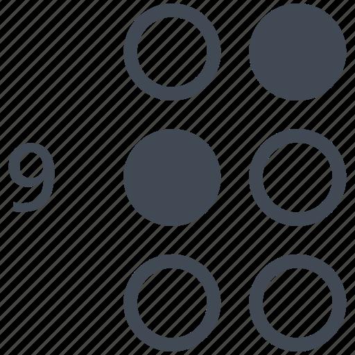 alphabet, blindness, braille, communication, disability, letter, nine icon