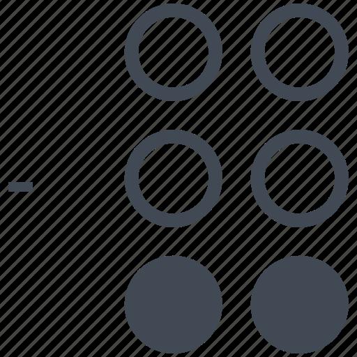 alphabet, blindness, braille, communication, dash, disability, letter icon