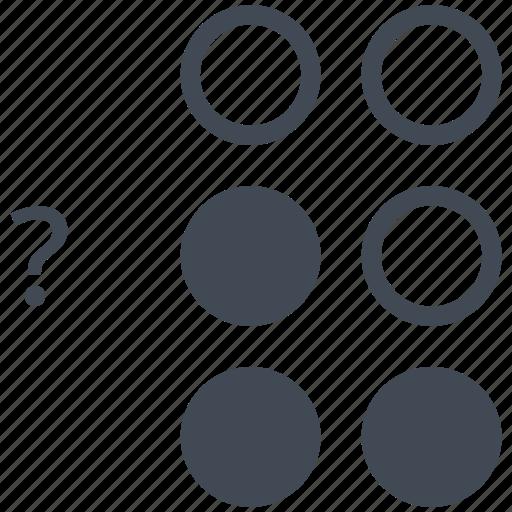 alphabet, blindness, braille, communication, disability, letter, question mark icon