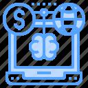 brain, global, laptop, money, world