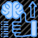 arrow, brain, hand, success, thinking, up
