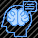brain, head, human, speech, thinking