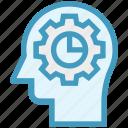 chart, cogwheel, head, human head, mind, thinking icon