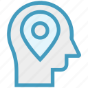 head, human head, location, map pin, mind, thinking icon