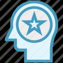 favorite, head, human head, mind, star, thinking