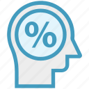 head, human head, mind, percentage, sign, thinking icon