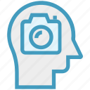 camera, ead, head, mind, picture, thinking icon