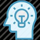 bulb, head, human head, idea, mind, thinking icon